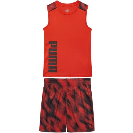 Puma Muscle Tank Top and Graphic Print Shorts Set (For Little Boys) in Flame Scarlet