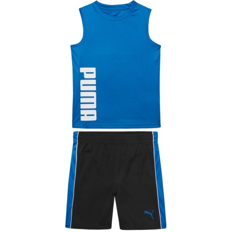 Puma Muscle Tank Top and Stripe Shorts Set (For Little Boys) in Turkish Sea