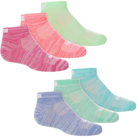 Puma Non-Terry Low-Cut Socks - 6-Pack, Ankle (For Little and Big Girls) in Bright Pink