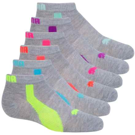 Puma Non-Terry Low-Cut Socks - 6-Pack, Ankle (For Little and Big Girls) in Grey/Blue - Closeouts