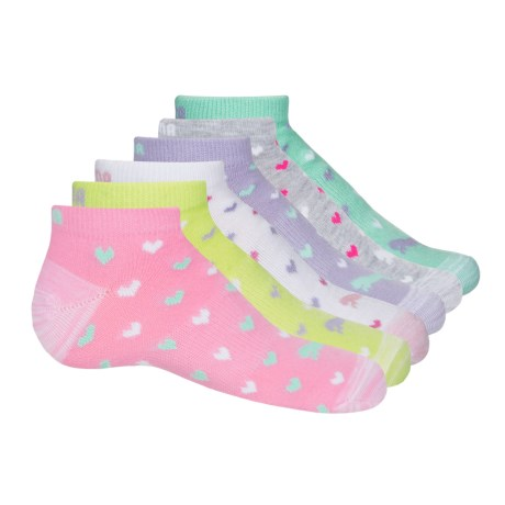 Puma Non-Terry Low-Cut Socks - 6-Pack, Ankle (For Little and Big Girls) in Pink/Multi