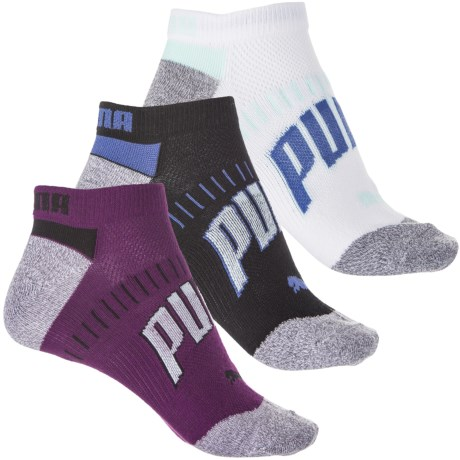 Puma Non-Terry Socks - 3-Pack, Below the Ankle (For Women) in Bright Purple