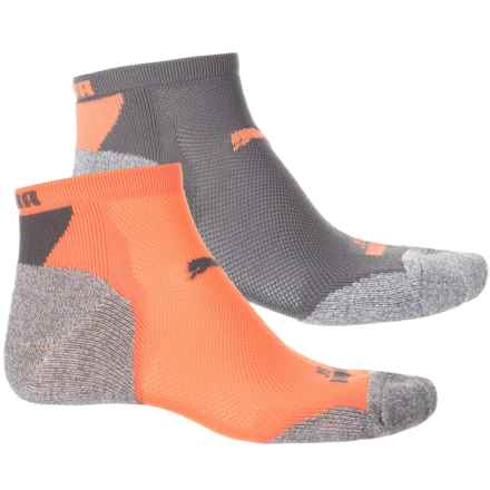 Puma Nylon 360 Low-Cut Socks - 2-Pack, Below the Ankle (For Men) in Grey/Orange - Closeouts