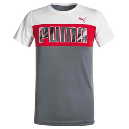 Puma Pieced T-Shirt - Short Sleeve (For Big Boys) in Smoke Grey - Closeouts