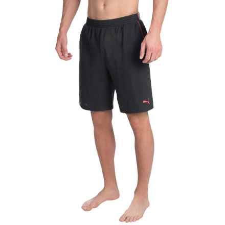 Puma Pique Sleep Shorts - Jacquard Waistband (For Men) in Black - Closeouts