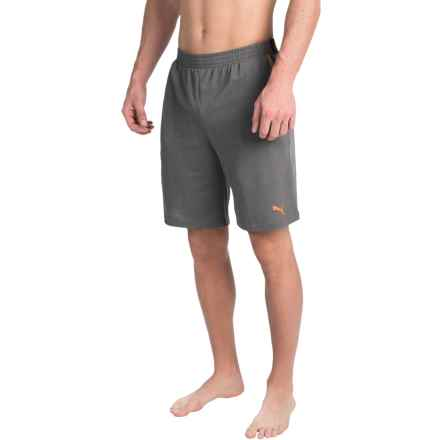 Puma Pique Sleep Shorts - Jacquard Waistband (For Men) in Medium Grey - Closeouts