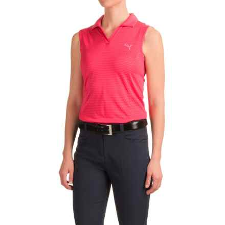 Puma Polka Stripe Polo Shirt - UPF 50+, Sleeveless (For Women) in Rose Red - Closeouts