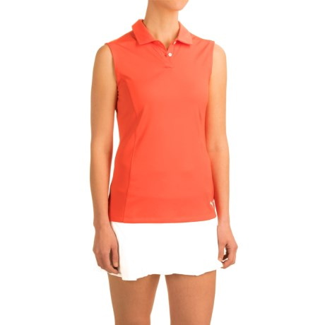 Puma Pounce Crest Golf Polo Shirt - Sleeveless (For Women) in Cherry Tomato