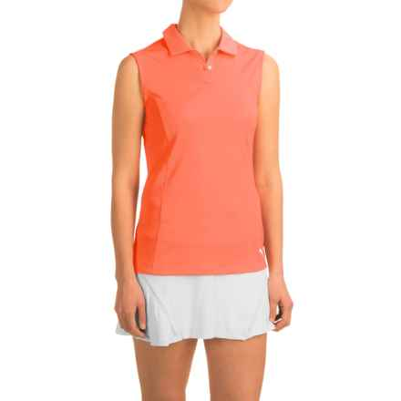 Puma Pounce Crest Golf Polo Shirt - Sleeveless (For Women) in Fluro Peach - Closeouts