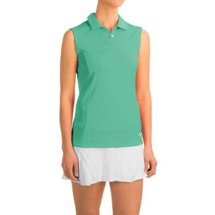 Puma Pounce Crest Golf Polo Shirt - Sleeveless (For Women) in Mint Leaf - Closeouts