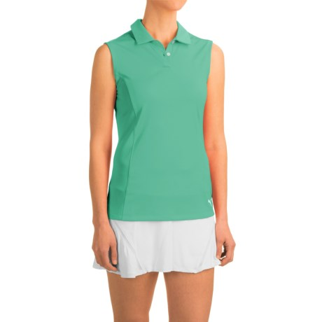 Puma Pounce Crest Golf Polo Shirt - Sleeveless (For Women) in Mint Leaf