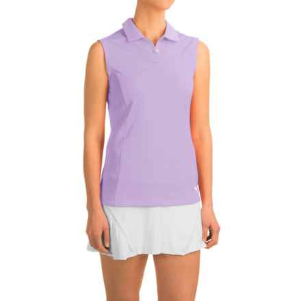 Puma Pounce Crest Golf Polo Shirt - Sleeveless (For Women) in Orchid Bloom - Closeouts