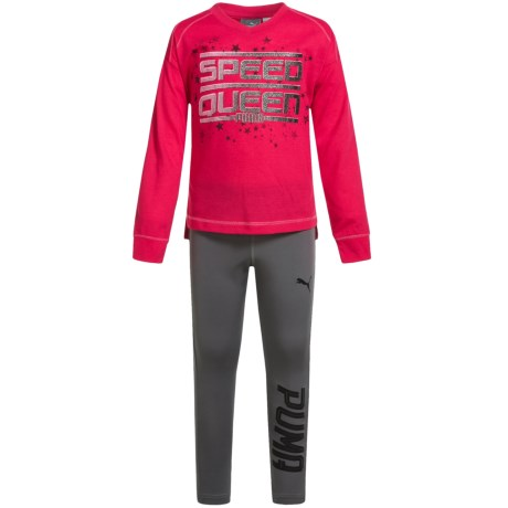 Puma Print Shirt and Leggings Set - Long Sleeve (For Toddler Girls) in Pink/Gray