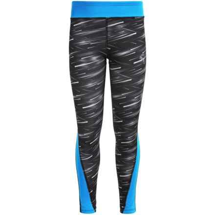 Puma Printed Leggings (For Big Girls) in Black/Blue - Closeouts
