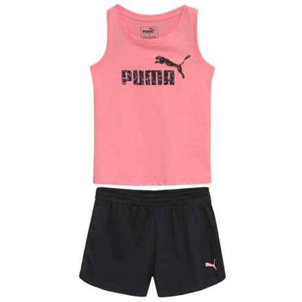 Puma Racerback Fashion Logo Tank Top and Mesh Shorts Set (For Little Girls) in Soft Flush Peach - Closeouts