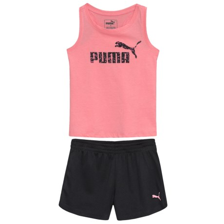Puma Racerback Fashion Logo Tank Top and Mesh Shorts Set (For Little Girls) in Soft Flush Peach