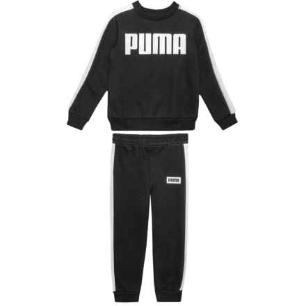 Puma Rebel French Terry Sweatshirt and Joggers Set (For Toddler Boys) in Black - Closeouts
