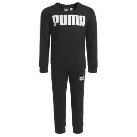 Puma Rebel Logo Sweatshirt and Sweatpants (For Little Boys) in Puma Black/White - Closeouts