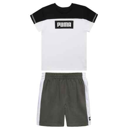 Puma Rebel T-Shirt and Shorts Set - Short Sleeve (For Little Boys) in Puma White - Closeouts