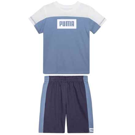 Puma Rebel T-Shirt and Shorts Set - Short Sleeve (For Toddler Boys) in Infinity - Closeouts