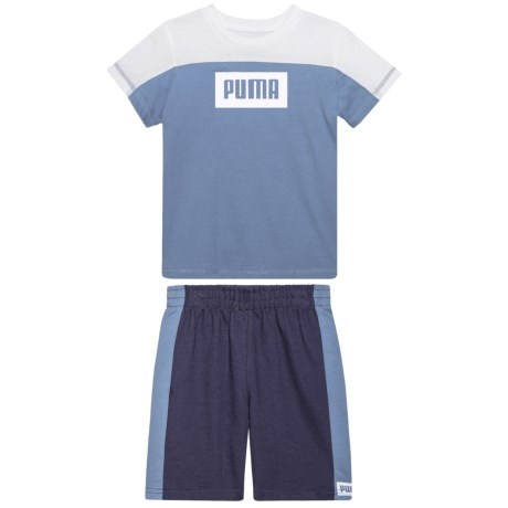 Puma Rebel T-Shirt and Shorts Set - Short Sleeve (For Toddler Boys) in Infinity
