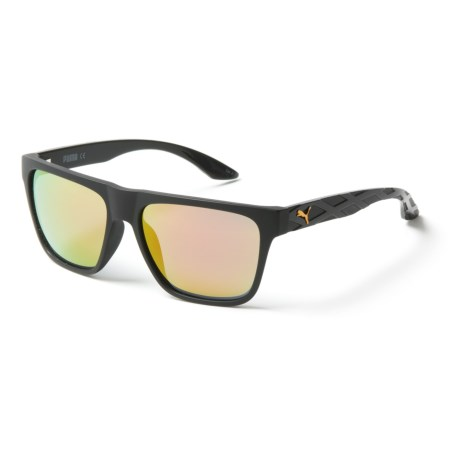 Puma Rectangular Sunglasses (For Men) in Black/Orange