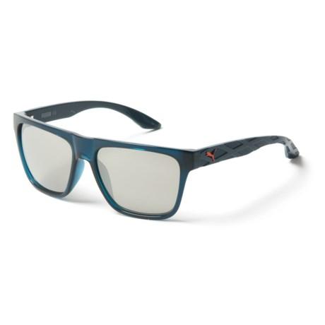Puma Rectangular Sunglasses (For Men) in Blue/Silver