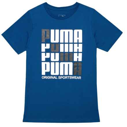Puma Repeat Logo T-Shirt - Short Sleeve (For Big Boys) in Sodalite Blue - Closeouts