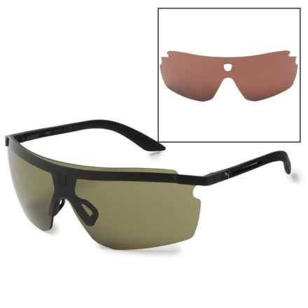 Puma Rimless Sport Wrap Sunglasses - Extra Lenses in Black/Black/Green - Closeouts