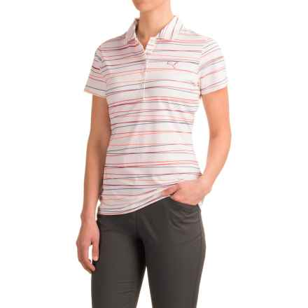Puma Road Map Stripe Polo Shirt - UPF 40+, Short Sleeve (For Women) in Rose Red - Closeouts