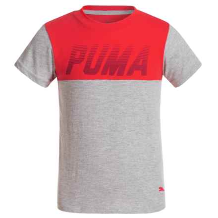 Puma Screenprint Pieced Shirt - Short Sleeve (For Little Boys) in Flame Scarlet - Closeouts