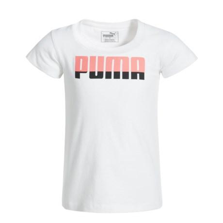 Puma Screenprint T-Shirt - Short Sleeve (For Little Girls) in Puma White
