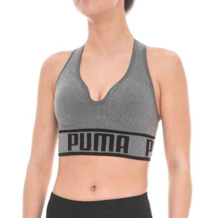 Puma Seamless Apex Racerback Sports Bra - Low Impact, Removable Padded Cups (For Women) in Medium Grey - Closeouts