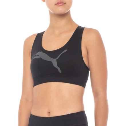 Puma Seamless Big Cat Sports Bra - Medium Impact (For Women) in Black - Closeouts