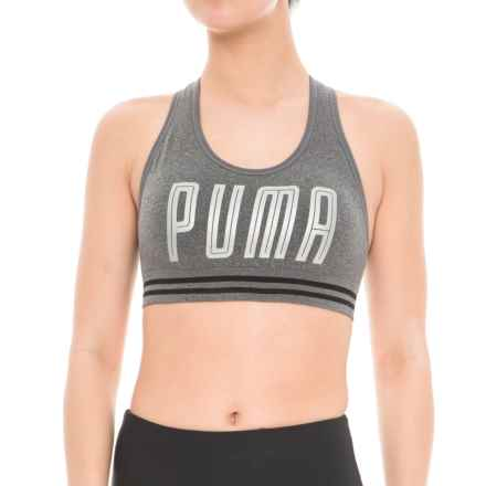 Puma Seamless Hero Sports Bra - Low Impact, Removable Padded Cups (For Women) in Charcoal - Closeouts