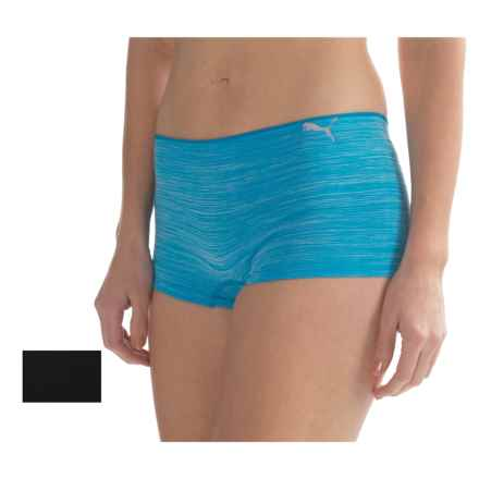 Puma Seamless Space-Dyed Panties - 2-Pack, Boy Shorts (For Women) in Turquiose - Closeouts