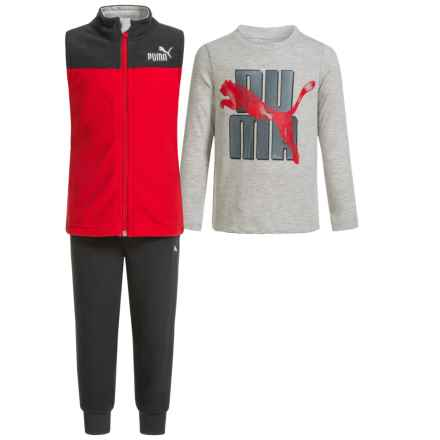 Puma Shirt, Vest and Sweatpants Set - 3-Piece (For Toddlers) in Red/Grey - Closeouts