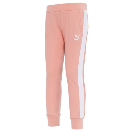 Puma Side Stripe French Terry Joggers (For Little Girls) in Peach Beige