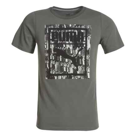 Puma Skateboard Wall Graphic T-shirt - Short Sleeve (For Big Boys) in Castor Grey - Closeouts