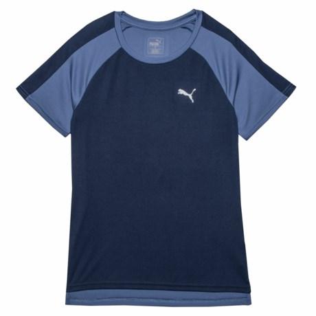 Puma Small Logo High-Performance T-Shirt - Crew Neck, Short Sleeve (For Big Boys) in Peacoat