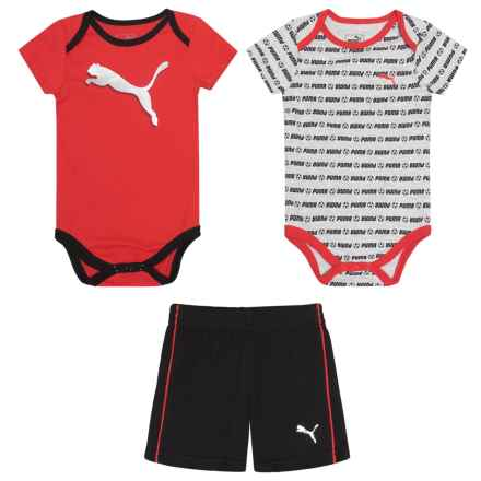 Puma Soccer Baby Bodysuits and Shorts Set - 3-Piece, Short Sleeve (For Infant Boys) in Flame Scarlet - Closeouts