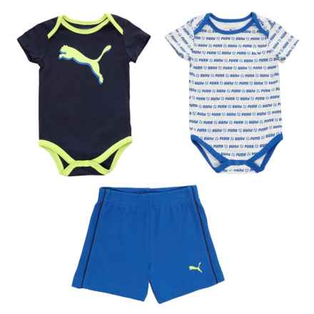 Puma Soccer Baby Bodysuits and Shorts Set - 3-Piece, Short Sleeve (For Infant Boys) in Peacoat - Closeouts