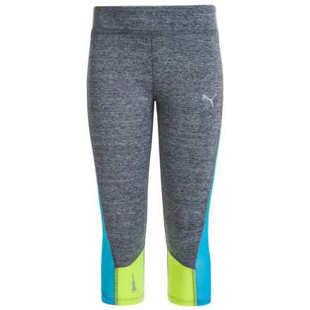 Puma Solid Active Capris (For Big Girls) in Medium Grey Heather - Closeouts