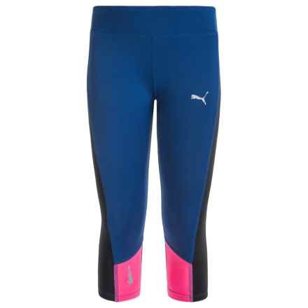 Puma Solid Active Capris (For Big Girls) in True Blue - Closeouts