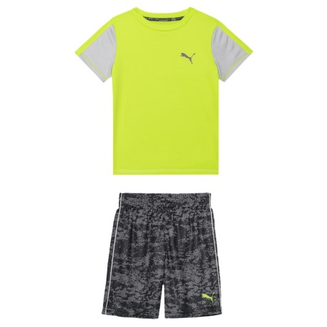 Puma Solid T-Shirt and Grunge Print Shorts Set - 2-Piece, Short Sleeve (For Little Boys) in Acid Lime