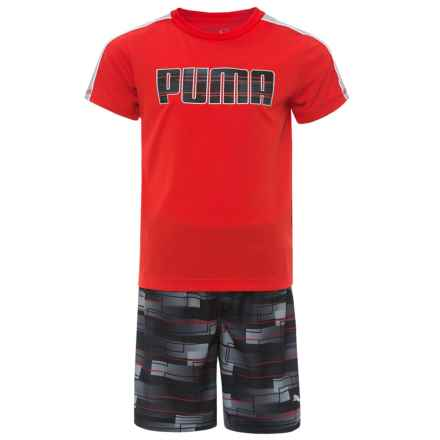 Puma Solid T-Shirt and Printed Shorts Set - Short Sleeve (For Little Boys) in Flame Scarlet - Closeouts