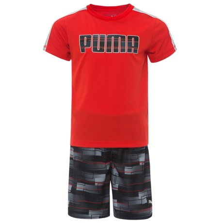 Puma Solid T-Shirt and Printed Shorts Set - Short Sleeve (For Little Boys) in Flame Scarlet