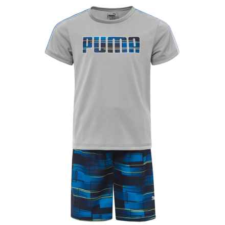Puma Solid T-Shirt and Printed Shorts Set - Short Sleeve (For Little Boys) in Light Heather Grey - Closeouts