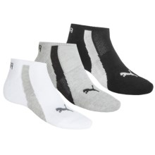 Puma Sorbtek® No-Show Socks - 3-Pack, Below the Ankle (For Men) in Grey/White/Black - Closeouts