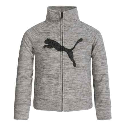 Puma Space-Dye Sweatshirt - Full Zip (For Big Girls) in Medium Heather Grey - Closeouts